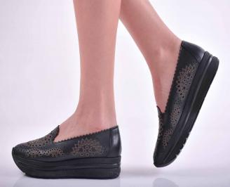 Дамски равни обувки естествена кожа черни  JVJZ-1015153