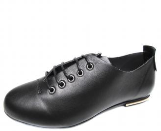Дамски равни обувки естествена кожа черни EEMA-20085