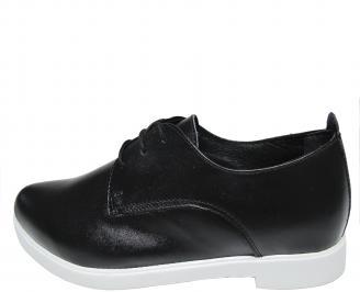 Дамски равни обувки естествена кожа черни AQAU-20236