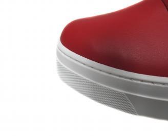 Дамски равни обувки естествена кожа червени JDXC-21186