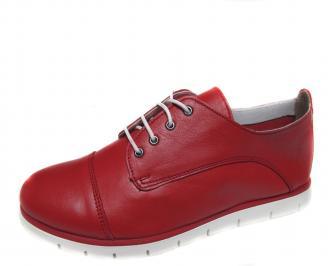 Дамски равни обувки естествена кожа червени BUJD-21248