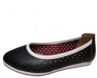 Дамски равни обувки естествена кожа черни SXDO-21822