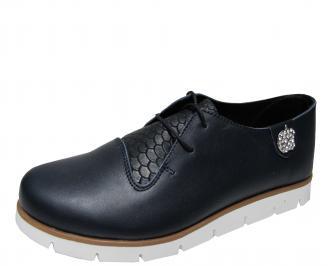 Дамски равни обувки естествена кожа тъмно сини UTHS-22122