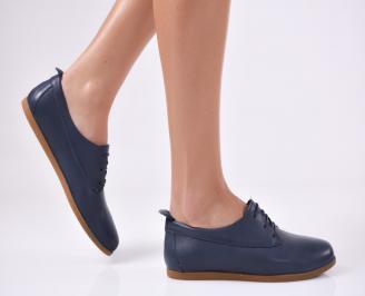 Дамски равни обувки естествена кожа тъмно сини QIOR-22281