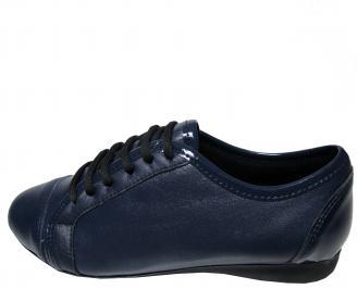 Дамски равни обувки естествена кожа тъмно сини OQSF-22288