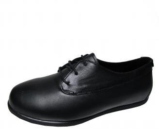 Дамски равни обувки естествена кожа черни SRCY-22337