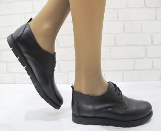 Дамски равни обувки естествена кожа черни YNXD-23128