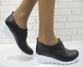 Дамски равни обувки естествена кожа черни GBNF-23131