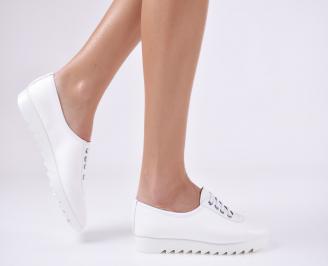 Дамски равни обувки естествена кожа бели IPRE-23133