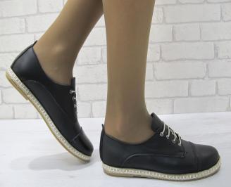 Дамски равни обувки естествена кожа черни MZPD-23134