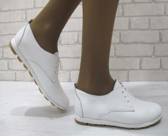 Дамски равни обувки естествена кожа бели FCAA-23135