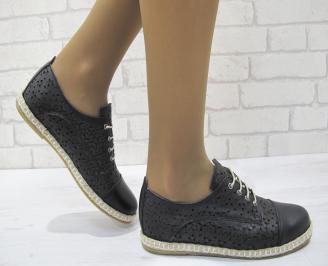 Дамски равни обувки естествена кожа черни HCAF-23139