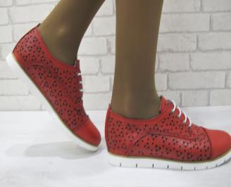 Дамски равни обувки естествена кожа червени YSKH-23143