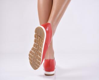 Дамски равни обувки естествена кожа червени RAYO-23144