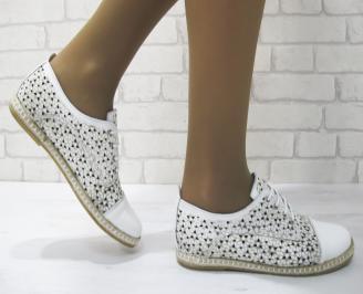 Дамски равни обувки естествена кожа бели JHSV-23145