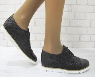 Дамски равни обувки естествена кожа черни NAFZ-23146