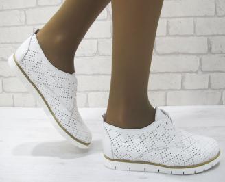 Дамски равни обувки естествена кожа бели TRJN-23149