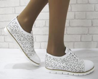 Дамски равни обувки естествена кожа бели JAXQ-23150