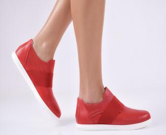 Дамски равни обувки естествена кожа червени RJKB-23151