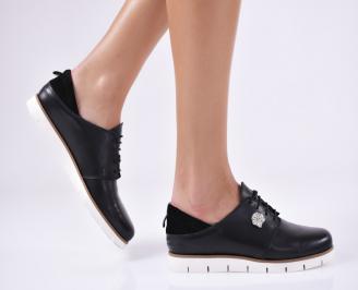 Дамски равни обувки естествена кожа черни VHLH-23152