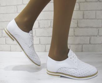 Дамски равни обувки естествена кожа бели JATW-23153