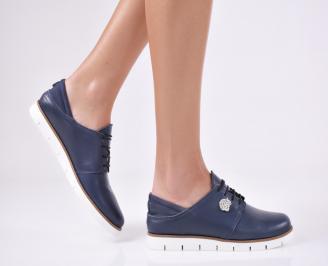 Дамски равни обувки естествена кожа тъмно сини GQCB-23158