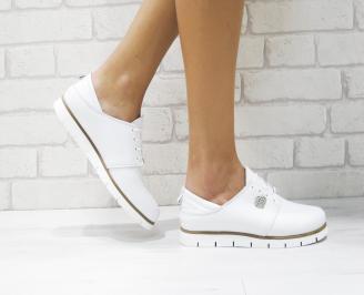 Дамски равни обувки естествена кожа бели TVYZ-23160