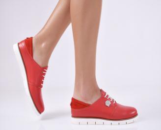 Дамски равни обувки естествена кожа червени SNNV-23161