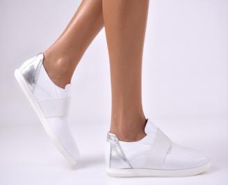 Дамски равни обувки естествена кожа бели SCBV-23162