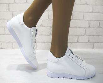 Дамски равни обувки естествена кожа бели KJHO-23340