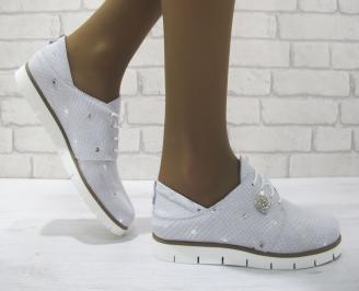 Дамски равни обувки естествена кожа бели QGOO-23342