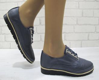 Дамски равни обувки естествена кожа тъмно сини EEEL-23351