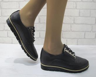 Дамски равни обувки естествена кожа черни EECS-23352