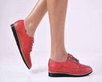 Дамски равни обувки естествена кожа червени XBWW-23356