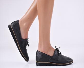Дамски равни обувки естествена кожа черни LXZI-23360