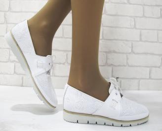 Дамски равни обувки естествена кожа бели NHCL-23362
