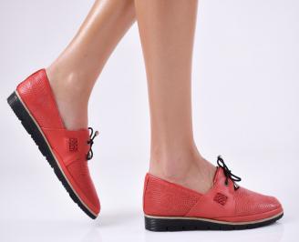 Дамски равни обувки естествена кожа червени DLJS-23363