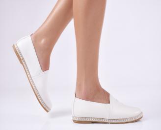 Дамски равни обувки естествена кожа бели UMMS-23481