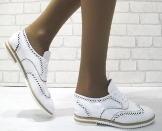 Дамски равни обувки естествена кожа бели UPIZ-23490