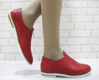 Дамски равни обувки естествена кожа червени NSTI-23767