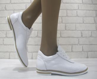 Дамски равни обувки естествена кожа бели VOBB-23796