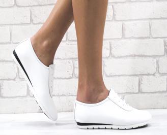 Дамски равни обувки естествена кожа бели BXZX-26492
