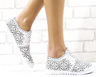 Дамски равни обувки естествена кожа бели RHTQ-26493