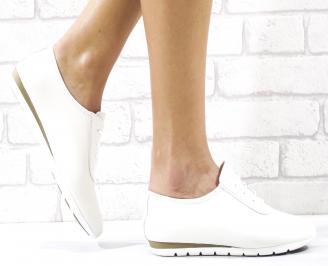 Дамски равни обувки естествена кожа бели RMCT-26494