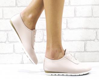 Дамски равни обувки естествена кожа пудра JZUR-26496