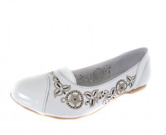 Дамски равни обувки естествена кожа бели POAC-18351