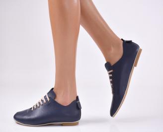 Дамски равни обувки естествена кожа тъмно сини SIRW-19896