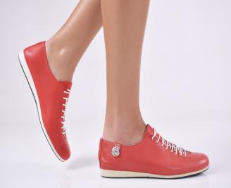 Дамски равни обувки естествена кожа червени LJNW-19983