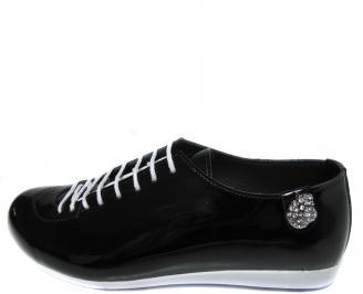 Дамски равни обувки естествена кожа/лак черни POOY-19985