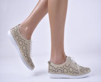 Дамски равни обувки гигант, естествена кожа бежови. APZV-1013826